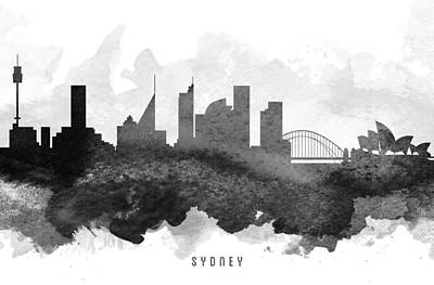 Sydney Skyline Wall Art - Painting - Sydney Cityscape 11 by Aged Pixel