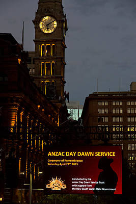 Photograph - Sydney Clock On Anzac Day At Dawn by Miroslava Jurcik