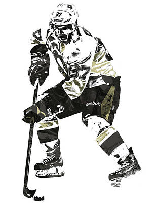 Penguin Mixed Media - Sydney Crosby Pittsburgh Penguins Pixel Art3 by Joe Hamilton
