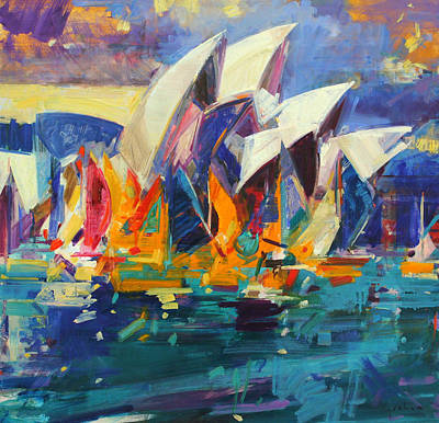 Purple Painting - Sydney Flying Colours by Peter Graham