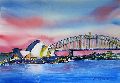 Painting - Sydney Harbor At Dusk by Debbie Lewis