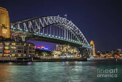 Photograph - Sydney Harbor Bridge At Night by Ray Warren