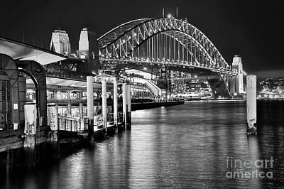 Sydney Harbour Bridge Black And White By Kaye Menner Art Print by Kaye Menner