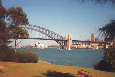 Sydney Skyline Digital Art - Sydney Harbour Bridge Digital Watercolor by Randy Herring