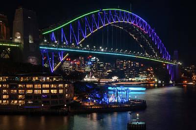 Photograph - Sydney Harbour Bridge During Vivid Festival by Daniela Constantinescu