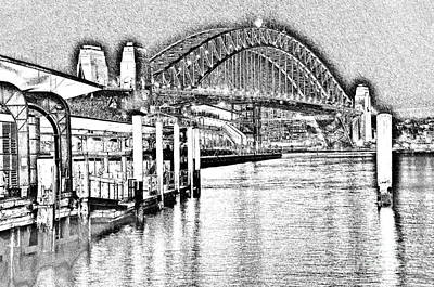 Photograph - Sydney Harbour Bridge Pencil Sketch 2 By Kaye Menner by Kaye Menner