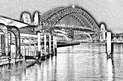 Photograph - Sydney Harbour Bridge Pencil Sketch 2 By Kaye Menner by Kaye Menner
