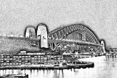 Photograph - Sydney Harbour Bridge Pencil Sketch By Kaye Menner by Kaye Menner