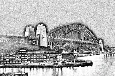 Photograph - Sydney Harbour Bridge Pencil Sketch By Kaye Menner by Kaye Menner
