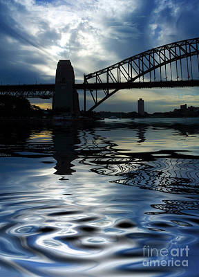 Studio Grafika Vintage Posters - Sydney Harbour Bridge reflection by Sheila Smart Fine Art Photography