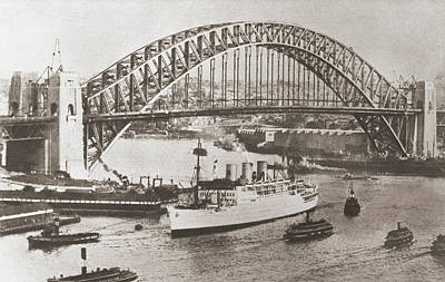 Coat Hanger Drawing - Sydney Harbour Bridge, Sydney by Vintage Design Pics