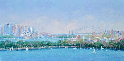 Sydney Skyline Painting - Sydney Harbour Bridge - Sydney Opera House - Sydney Harbour by Jan Matson