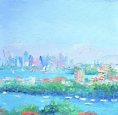 Sydney Skyline Painting - Sydney Harbour Impression by Jan Matson