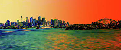 Photograph - Sydney Harbour In Orange by Miroslava Jurcik