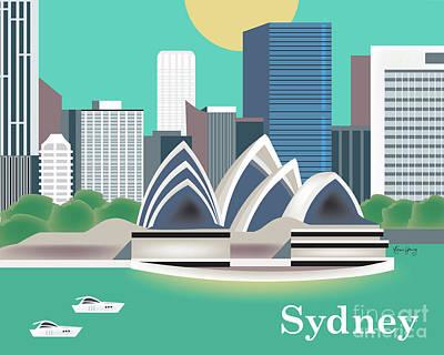 Wales Digital Art - Sydney New South Wales Australia Horizontal Skyline by Karen Young