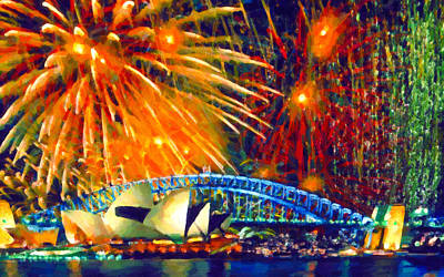 Sydney New Year Fireworks Art Print