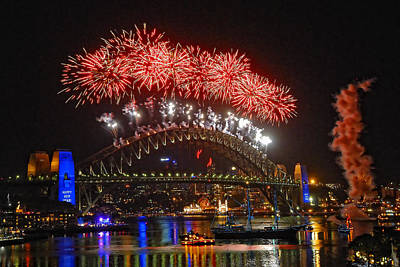 Photograph - Sydney New Years Eve Fireworks 2009 - 2010 Sydney Harbour Bridge  by David Iori