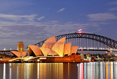 Photograph - Sydney Opera House And Harbour Bridge At Dawn by Nicholas Blackwell