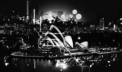 Photograph - Sydney Opera House Goes Modern Black And White by Georgiana Romanovna