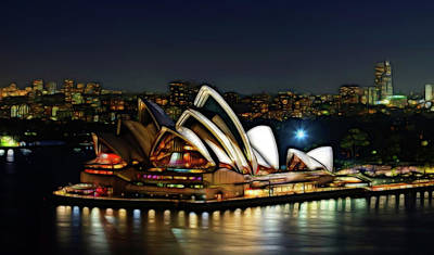 Photograph - Sydney Opera House Lights by Georgiana Romanovna