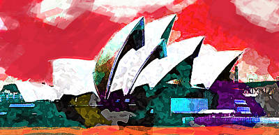 Sydney Painting - Sydney Opera House Red  by Enki Art