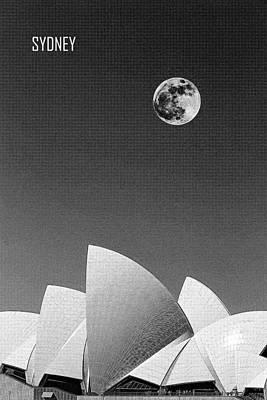Sydney Harbour Painting - Sydney Opera House, Sydney, Australia Travel Poster 2 Bw by Celestial Images