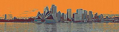 Sydney Harbour Painting - Sydney Opera House Travel Poster 2 by Celestial Images
