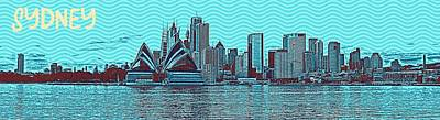 Sydney Harbour Painting - Sydney Opera House Travel Poster 3 by Celestial Images