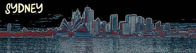 Sydney Harbour Painting - Sydney Opera House Travel Poster 4 by Celestial Images