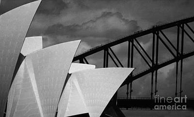 Black And White Ink Illustrations - Sydney Opera House with Harbour Bridge by Sheila Smart Fine Art Photography