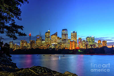 Sydney Skyline Photograph - Sydney Skyline At Night by Ana Flasker