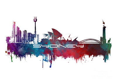 Sydney Skyline Digital Art - Sydney Skyline City Blue by Justyna JBJart