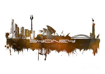 Sydney Skyline Digital Art - Sydney Skyline City Brown by Justyna JBJart