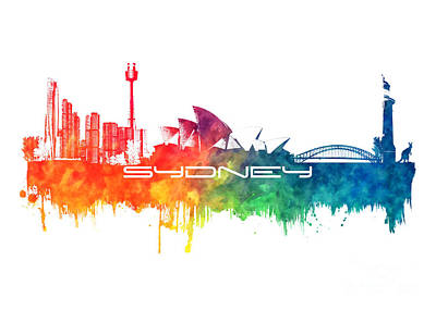 Sydney Skyline Digital Art - Sydney Skyline City Color by Justyna JBJart