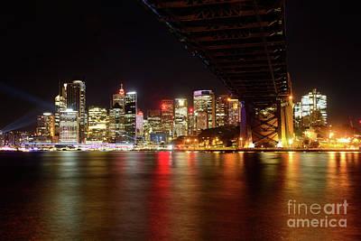 Sydney Skyline Photograph - Sydney Skyline From Milsons Point During Vivid Sydney by Kaye Menner