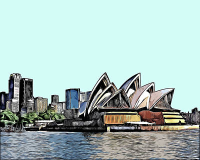 Sydney Skyline Digital Art - Sydney Skyline Illustration by Walaa