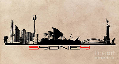 Sydney Skyline Digital Art - Sydney Skyline by Justyna JBJart