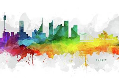 Sydney Skyline Digital Art - Sydney Skyline Mmr-ausy05 by Aged Pixel