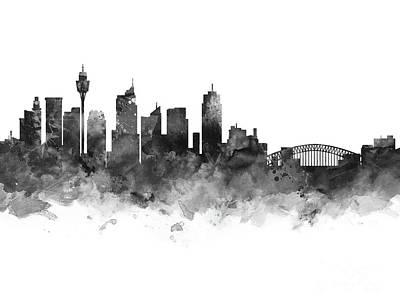 Sydney Skyline Mixed Media - Sydney Skyline by Monn Print