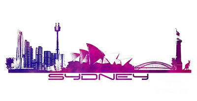 Sydney Skyline Digital Art - Sydney Skyline Purple by Justyna JBJart