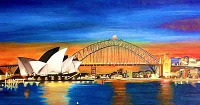 Sydney Skyline Painting - Sydney Skyline by Shernaz Pochkhanawala