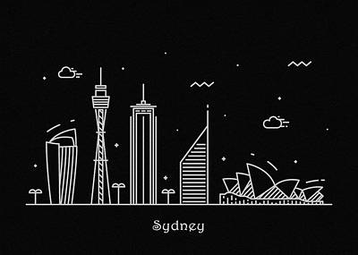 Drawing - Sydney Skyline Travel Poster by Inspirowl Design