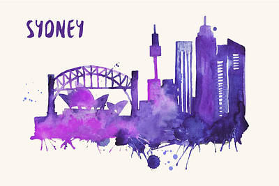 Sydney Skyline Watercolor Poster - Cityscape Painting Artwork Art Print by Beautify My Walls