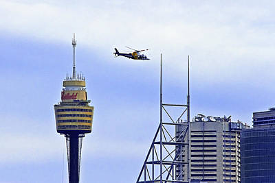 Photograph - Sydney Tower And Careflight Heli  by Miroslava Jurcik