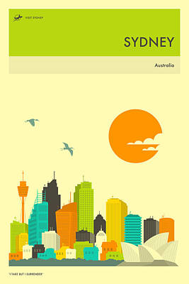 Sydney Skyline Digital Art - Sydney Travel Poster by Jazzberry Blue