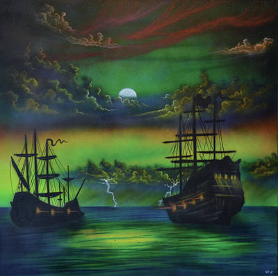 Painting - Syfy- 2 Ships by Shawn Palek