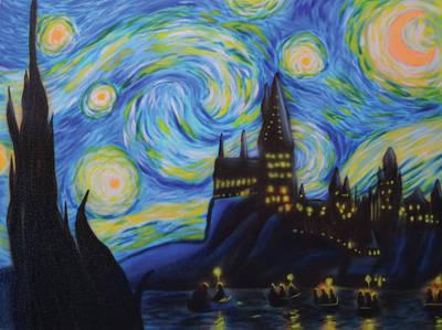 Painting - Syfy- Starry Night In Hogwarts by Shawn Palek