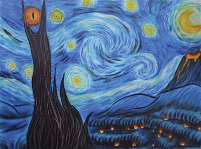 Painting - Syfy- Starry Night In Mordor by Shawn Palek