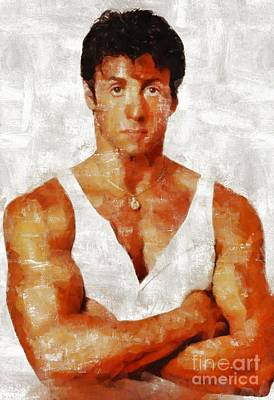 Stallone Painting - Sylvester Stallone, Hollywood Legend By Mary Bassett by Mary Bassett