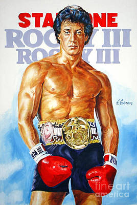 Stallone Painting - Sylvester Stallone Rocy 3 by Spiros Soutsos
